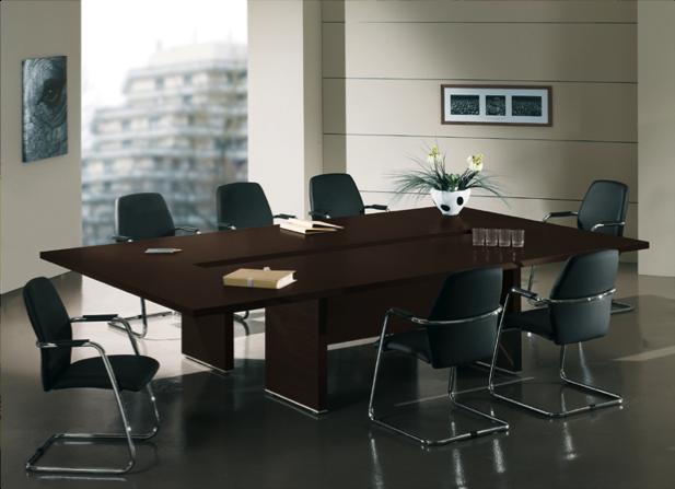 table de conf rence bois fonc adopte un bureau. Black Bedroom Furniture Sets. Home Design Ideas
