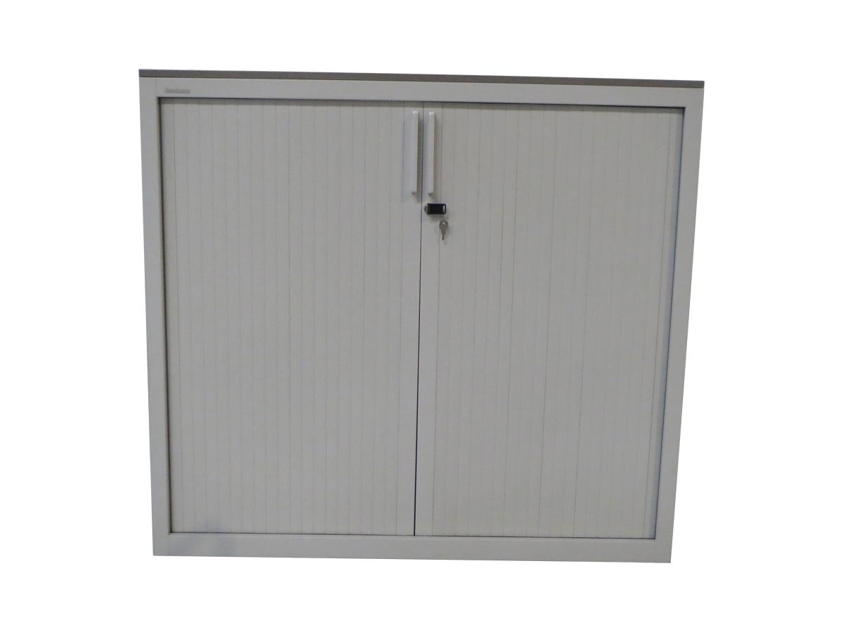 Armoire rideaux blanche 120x110 mod le d 39 exposition for Armoire blanche bureau