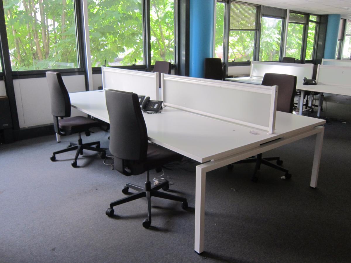 Bench x4 blanc 160x80 adopte un bureau for Mobilier bureau occasion 64