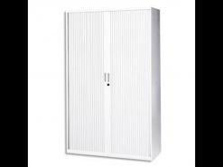 Armoire haute a rideaux blanche Vinco 198 x 120 - Neuve