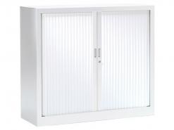 Armoire basse a rideaux blanche Vinco 100 x 100 - Neuve