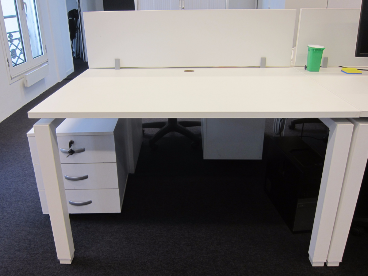 Bench 2 personnes blanc 120x80 adopte un bureau for Mobilier bureau 2 personnes
